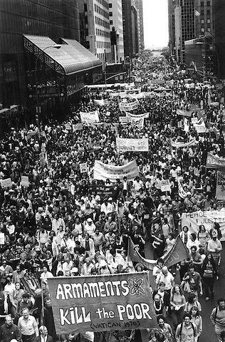Disarmament march of 1 million people filling 42nd Street in New York City 6.12.82