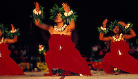Merrie Monarch hula dancers with halau 'okawaili'ula; Kumu Chinky Mahoe