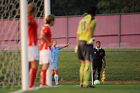 Yael Averbuch (13) of Sky Blue FC taking a corner kick. Sky Blue FC and the Washington Freedom played to a 0-0 tie during a Women's Professional Soccer (WPS) match at Yurcak Field in Piscataway, NJ, on July 7, 2010.
