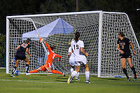 Texas State goalkeeper Caitlynn Rinehart (2) slides to make a save during first half of an NCAA soccer game, Sunday, September 21, 2014 in San Marcos, Tex. Texas defeated Texas State 2-0. (Mo Khursheed/TFV Media via AP Images)