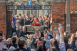 The coffin of the late Prodigy singer Keith Flint is carried out of St Marys Church in Bocking,  Essex today after his funeral service.