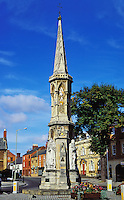 England. Oxfordshire.  Banbury Cross in the town Banbury. This cross made famous by a nursery rhyme was destroyed by puritans in 1646 as a heathenish memorial.  In 1858 the present cross was erected on the site t commemorate the marriage of Queen Victoria's eldest daughter, Victoria Adelaide, to Friedrich Wilhelm of Prussia..