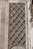 Fes, Morocco.  Stucco Decoration, Attarine Medersa, Fes El-Bali.