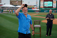 Actor Corbin Bernsen, who stared in the movie Major League, tips his cap to the fans before a Rochester Red Wings International League game against the Pawtucket Red Sox on June 28, 2019 at Frontier Field in Rochester, New York.  Pawtucket defeated Rochester 8-5.  (Mike Janes/Four Seam Images)