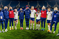 LE HAVRE, FRANCE - APRIL 13: The USWNT huddles after a game between France and USWNT at Stade Oceane on April 13, 2021 in Le Havre, France.