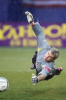 Galaxy goal keeper Kevin Hartman makes one of his ten saves. The LA Galaxy lost to the NY/NJ MetroStars 1-0 on 6/21/03 at Giant's Stadium, NJ..