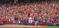 28 September 2014: Washington Nationals starting pitcher Jordan Zimmermann expresses his joy after the last pitch of the game against the Miami Marlins at Nationals Park in Washington, DC. Zimmermann thus recorded his first career no-hitter as the Nats defeated the Marlins 1-0 caping the season with the first Nationals no-hitter in modern times. The win also resulted with a 96 win season for the Nats: the best record in the National League. Mandatory Credit: Ed Wolfstein Photo *** RAW (NEF) Image File Available ***