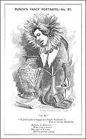 Oscar Wilde - IRISH PLAYWRIGHT  Cartoon Portrayal / Punch Linley Sambourne 1881. / 1856-1900