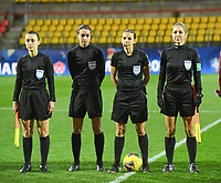 20200310  Calais , France :  referee Stephanie Frappart with assistant referees Manuela Nicolosi and Camille Soriano pictured during the female football game between the national teams of  Brasil and Canada on the third and last matchday of the Tournoi de France 2020 , a prestigious friendly womensoccer tournament in Northern France , on Tuesday 10 th March 2020 in Calais , France . PHOTO SPORTPIX.BE | DIRK VUYLSTEKE