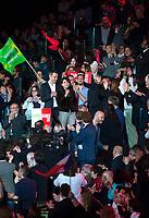 Najat Vallaud-Belkacem au Grand meeting de BenoÓt Hamon ‡ L'Accorhotels Arena Bercy ‡ Paris le 19 mars 2017 . # GRAND MEETING DE BENOIT HAMON A PARIS