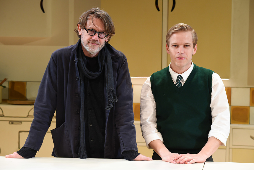 "Nigel Slater and Giles Cooper who plays Nigel Slater<br /> performs on stage in ""Toast"" at The Other Palace theatre, London<br /> <br /> ©Ash Knotek  D3490  04/04/2019"