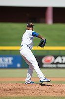Mesa Solar Sox relief pitcher Manuel Rondon (51), of the Chicago Cubs organization, delivers a pitch during an Arizona Fall League game against the Peoria Javelinas at Sloan Park on October 11, 2018 in Mesa, Arizona. Mesa defeated Peoria 10-9. (Zachary Lucy/Four Seam Images)