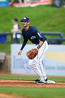 West Michigan Whitecaps first baseman Will Kengor (34) waits for a throw during a game against the Cedar Rapids Kernels on June 7, 2015 at Fifth Third Ballpark in Comstock Park, Michigan.  West Michigan defeated Cedar Rapids 6-2.  (Mike Janes/Four Seam Images)