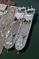aerial photograph of vessels berthed Pier 50 San Francisco, California