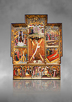 Gothic altarpiece dedicated to St Vincent by Bernat Martorell circa 1483-1440 in Barcelona, tempera and gold lef on wood from the Parish church of St Vincent of menarguens, Noguera, Spain. At the top of the central panels of the altar tryptic, replacing the traditional Calvery scene, can be seen in the centre the Virgin of Mercy and kneeling to the left is Sant Benet de Bages, in black, and to the right St. Bernard of Clairvaux, patron saint of thr Benedictine and Cistercian orders . Below this is a depiction of St Vincent and either side are scenes of the Mardom of Vincent. Along the bottom are scenes from the Passion of Christ, with Judas in a yellow tunic kissing Christ and a furious Peter cutting off the ear of Malcus. National Museum of Catalan Art (MNAC), Barcelona, Spain, inv 15797, Against a grey art background.