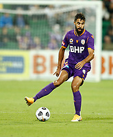 18th April 2021; HBF Park, Perth, Western Australia, Australia; A League Football, Perth Glory versus Wellington Phoenix; Osama Malik of the Perth Glory traps the ball in the middle