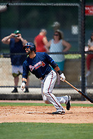 Atlanta Braves third baseman Jose Bautista (1) hits a double to centerfield during a Minor League Extended Spring Training game against the Philadelphia Phillies on April 20, 2018 at Carpenter Complex in Clearwater, Florida.  (Mike Janes/Four Seam Images)