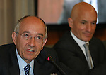 Miguel Angel Fernandez Ordonez gorbernador of the bank of Spain and the economist James Daniel during press conference..(Acero/ALTERPHOTOS)