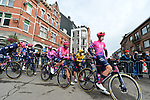 EF Pro Cycling wait to start La Fleche Wallonne 2020, running 202km from Herve to Mur de Huy, Belgium. 30th September 2020.<br /> Picture: ASO/Gautier Demouveaux | Cyclefile<br /> All photos usage must carry mandatory copyright credit (© Cyclefile | ASO/Gautier Demouveaux)