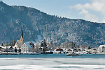 Germany, Bavaria, Upper Bavaria, Tegernseer Valley, Winter at Lake Tegern; sightseeing boat, Rottach-Egern