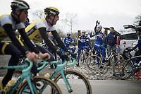 when teams  'collide' at the Ronde van Vlaanderen 2016 recon with Team LottoNL-Jumbo crossing Team Etixx-Quickstep: Tom Boonen (BEL/Etixx-QuickStep) salutes