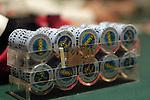 A detail shot of poker chips.
