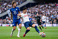 19th September 2021; Tottenham Hotspur Stadium, Tottenham, London; Son Heung-min pulled back by Alonso of Chelsea during the Premier League match between Tottenham Hotspur and Chelsea at Tottenham Hotspur Stadium