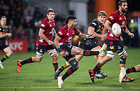 Richie Mo'unga kicks during the 2021 Super Rugby Aotearoa final between the Crusaders and Chiefs at Orangetheory Stadium in Christchurch, New Zealand on Saturday, 8 May 2021. Photo: Joe Johnson / lintottphoto.co.nz