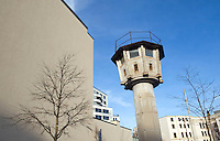 Former watchtower on the old border that separated East and West Berlin near Potsdamer Platz in Berlin-Mitte.