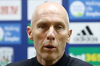 Swansea Citys head coach Bob Bradley answers questions from the press during the post match interview after the Premier League match between West Bromwich Albion and Swansea City at The Hawthorns, England, UK. Wednesday 14 December 2016