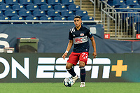 FOXBOROUGH, MA - AUGUST 5: Damian Rivera #72 of New England Revolution II looks to pass during a game between North Carolina FC and New England Revolution II at Gillette Stadium on August 5, 2021 in Foxborough, Massachusetts.