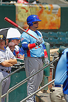 Tennessee Smokies first baseman Dan Vogelbach (21) in the dugout during a game against the Jacksonville Suns at Bragan Field on the Baseball Grounds of Jacksonville on June 13, 2015 in Jacksonville, Florida.  Tennessee defeated Jacksonville 12-3. (Robert Gurganus/Four Seam Images)