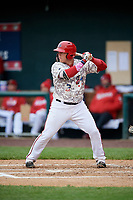 Harrisburg Senators catcher Jake Lowery (3) at bat during the second game of a doubleheader against the New Hampshire Fisher Cats on May 13, 2018 at FNB Field in Harrisburg, Pennsylvania.  Harrisburg defeated New Hampshire 2-1.  (Mike Janes/Four Seam Images)