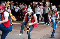 NORFOLK, VA--The Stanford Band warms up the crowd before heading to the first round matchup against Hampton University at the Ted Constant Convocation Center at Old Dominion University in Norfolk, VA for the 2012 NCAA Championships.