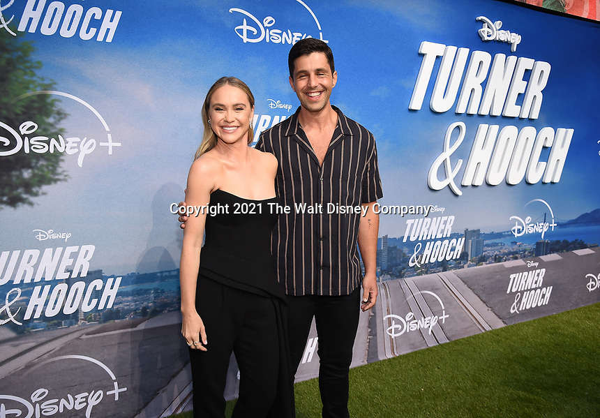 """LOS ANGELES, CA - JULY 15: Becca Tobin and Josh Peck attends a premiere event for the Disney+ original series """"Turner & Hooch"""" at Westfield Century City on July 15, 2021 in Los Angeles, California. (Photo by Frank Micelotta/Disney+/PictureGroup)"""