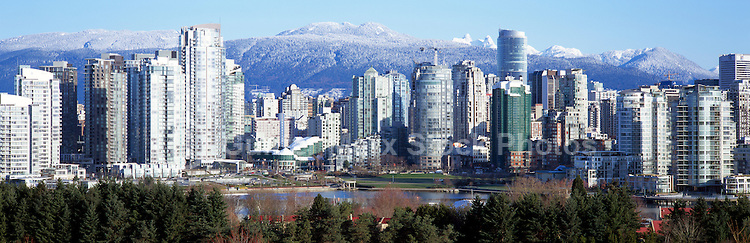 """City of Vancouver Skyline and Downtown at Yaletown District and """"False Creek"""", BC, British Columbia, Canada, in Spring.  The North Shore Mountains (Coast Mountains) rise above the City. - Panoramic View"""