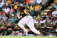 Pittsburgh Pirates infielder Josh Harrison (5) during a Spring Training game against the Minnesota Twins on March 13, 2015 at McKechnie Field in Bradenton, Florida.  Minnesota defeated Pittsburgh 8-3.  (Mike Janes/Four Seam Images)