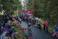 Serghei Tvetcov (ROU) up Mount Fløyen<br /> <br /> Men Elite Individual Time Trial<br /> <br /> UCI 2017 Road World Championships - Bergen/Norway