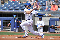 Tulsa Drillers shortstop Michael Ahmed (1) swings during a game against the Arkansas Travelers at Oneok Field on May 22, 2017 in Tulsa, Oklahoma.  Arkansas won 5-4.  (Dennis Hubbard/Four Seam Images)