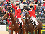 03 October 2010.  Selena O'Hanlon and Colombo, and Hawley Bennett-Awad and Gin & Juice during the awards ceremony.    Canada finished 2nd in the Eventing team standings, taking home the Silver Medal.