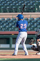 AZL Rangers first baseman Stanley Martinez (29) at bat during an Arizona League game against the AZL Giants Black at Scottsdale Stadium on August 4, 2018 in Scottsdale, Arizona. The AZL Giants Black defeated the AZL Rangers by a score of 3-2 in the first game of a doubleheader. (Zachary Lucy/Four Seam Images)