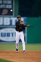 Batavia Muckdogs shortstop Dalvy Rosario (17) throws to first base during a NY-Penn League game against the Lowell Spinners on July 10, 2019 at Dwyer Stadium in Batavia, New York.  Batavia defeated Lowell 8-6.  (Mike Janes/Four Seam Images)