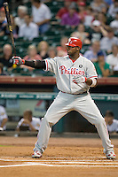 Philadelphia Phillies first baseman Ryan Howard #6 at bat during Major League Baseball game against the Houston Astros at Minute Maid Park in Houston, Texas on September 12, 2011. Houston defeated Philadelphia 5-1.  (Andrew Woolley/Four Seam Images)
