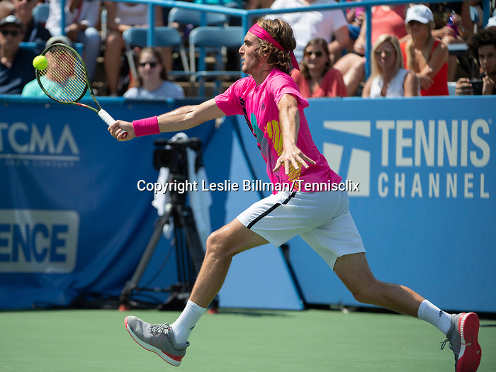 August 4,2018:   Stefanos Tsitsipas (GRE) loses to Alexander Zverev (GER 6-2, 6-4, at the CitiOpen being played at Rock Creek Park Tennis Center in Washington, DC, .  ©Leslie Billman/Tennisclix/CSM