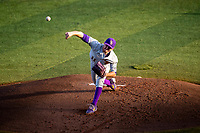 LSU Tigers starting pitcher Landon Marceaux (11) delivers a pitch to the plate against the Tennessee Volunteers on Robert M. Lindsay Field at Lindsey Nelson Stadium on March 26, 2021, in Knoxville, Tennessee. (Danny Parker/Four Seam Images)