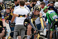 Primoz Roglic (SVN/Jumbo-Visma) clearly disappointed  post-finish after crashing late in the race <br /> <br /> Stage 3 from Lorient to Pontivy (183km)<br /> 108th Tour de France 2021 (2.UWT)<br /> <br /> ©kramon