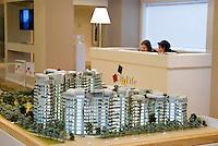 """milano, modello del nuovo quartiere fiera citylife in costruzione sull'area fieramilanocity --- milan, small scale model of the new district """"Citylife"""", under construction on the """"fieramilanocity"""" fair area"""
