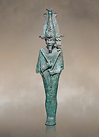 Ancient Egyptian bronze statue of Osiris, Ptolomaic Period, (722-30 BC). Egyptian Museum, Turin. Grey background. Old fundCat 39.