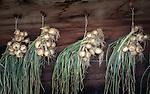 Switzerland, Canton Valais, Valley Loetschental: drying onions | Schweiz, Kanton Wallis, im Loetschental: Zwiebeln zum Trocknen aufgehaengt