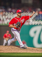 15 September 2013: Washington Nationals pitcher Xavier Cedeno on the mound against the Philadelphia Phillies at Nationals Park in Washington, DC. The Nationals took the rubber match of their 3-game series 11-2 keeping their wildcard postseason hopes alive. Mandatory Credit: Ed Wolfstein Photo *** RAW (NEF) Image File Available ***
